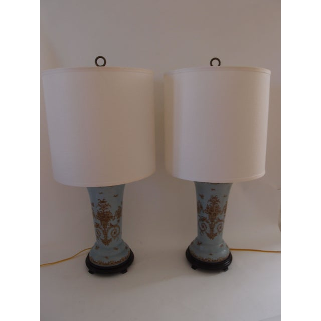 Light Blue Ceramic Lamps - A Pair - Image 2 of 7
