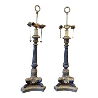 Mid 20th Century French Bronze and Ormolu Charles X Empire Style Candlestick Table Lamps - a Pair For Sale