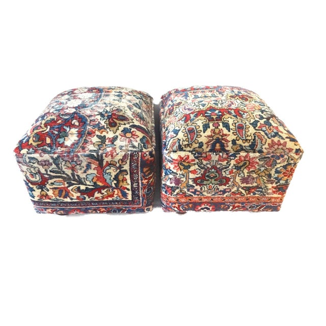 Wood Ottomans Upholstered with Antique Kirman Savonnerie Rug - a Pair For Sale - Image 7 of 7