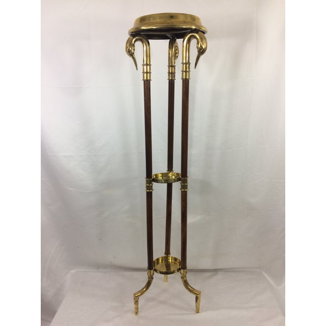 Napoleon III Empire Mahogany and Brass Stand with Swan Heads For Sale - Image 9 of 9