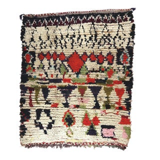 Contemporary Moroccan Boucherouite Rug - 4′4″ × 5′3″ For Sale