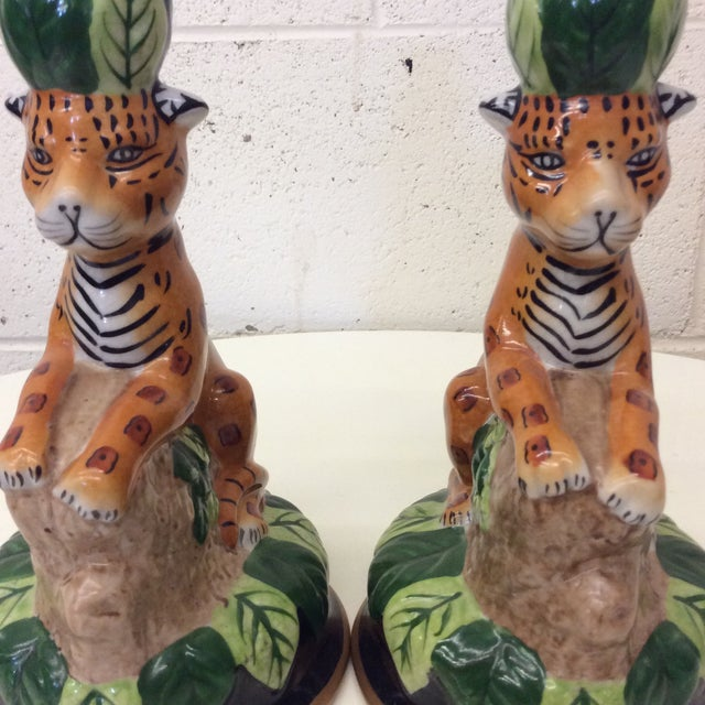 Hollywood Regency Ceramics Cheetah Candle Holders - a Pair For Sale In Richmond - Image 6 of 8