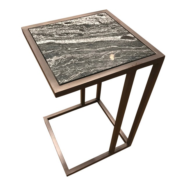 Contemporary Alder & Tweed Marble Top End Table For Sale