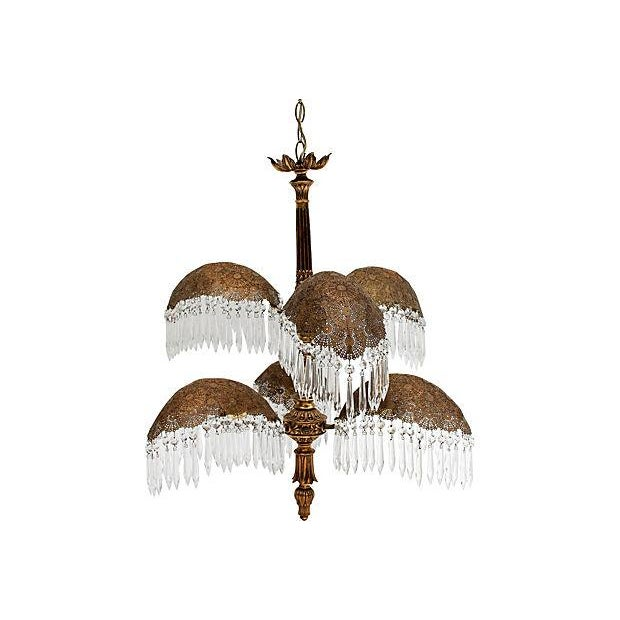 Hollywood Regency Brass Palm Frond Chandelier W/ Prisms For Sale - Image 3 of 8
