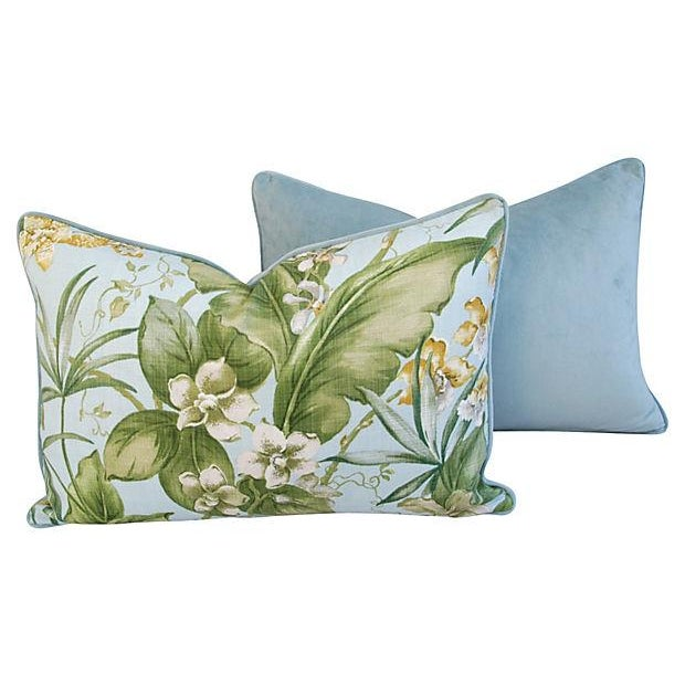 Large Tropical Linen & Velvet Pillows - Pair - Image 5 of 7