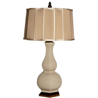 Vintage Greige Crackle Ceramic Lamp With Scalloped Silk Shade For Sale