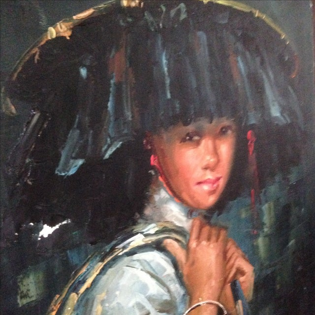 Vintage Portrait of Young Woman, Oil on Canvas - Image 6 of 11
