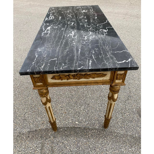 Neoclassical Italian Neoclassical Gilt-Wood Console, Marble Top For Sale - Image 3 of 9