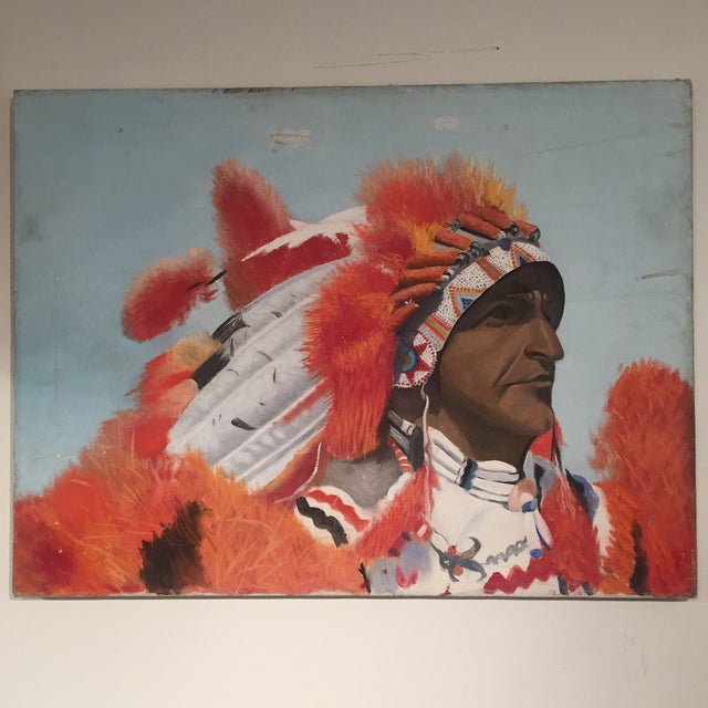 Indian Chief Oil Portrait - Image 2 of 7