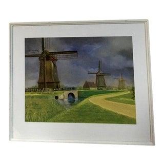 """""""Windmills"""" Vintage Oil Pastel, Framed For Sale"""
