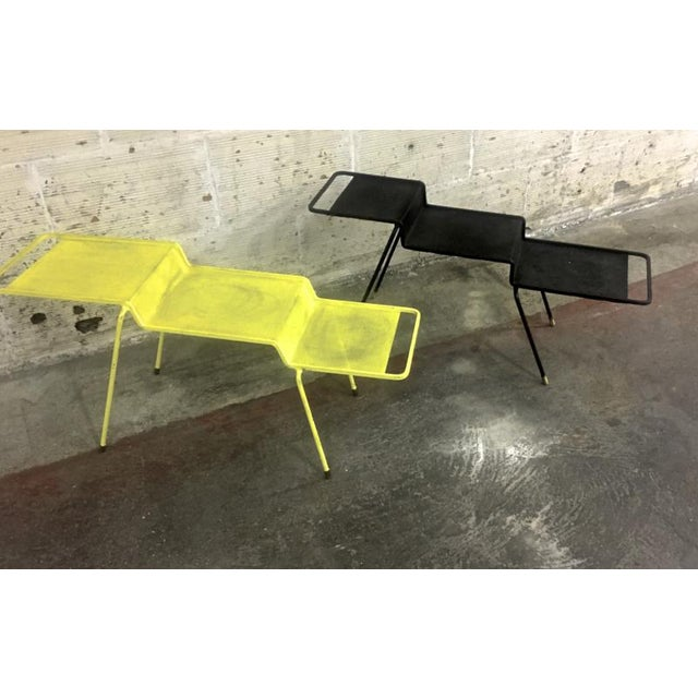 Mathieu Mategot Coffee Table in Yellow Painted Iron and Rigitule For Sale - Image 6 of 8