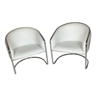 Thonet Barrel Chrome Chairs - A Pair