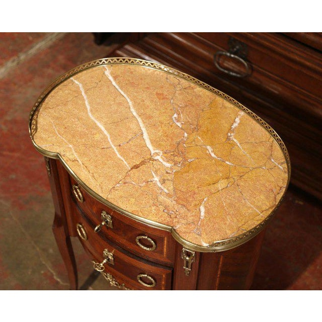 French 19th Century French Louis XV Walnut Commode Nightstand Chest With Marble Top For Sale - Image 3 of 10