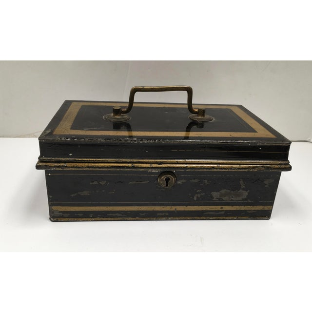 Early 1900s Antique English Metal Cash Box - Image 3 of 11