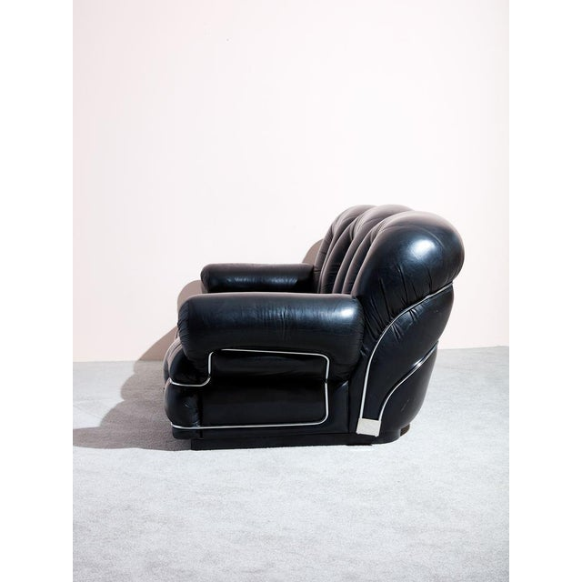 Bauhaus 1970s Italian Black Leather Sofa For Sale - Image 3 of 5