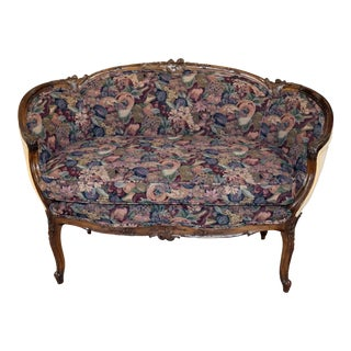 Louis XV Style Carved Walnut Tapestry Settee For Sale