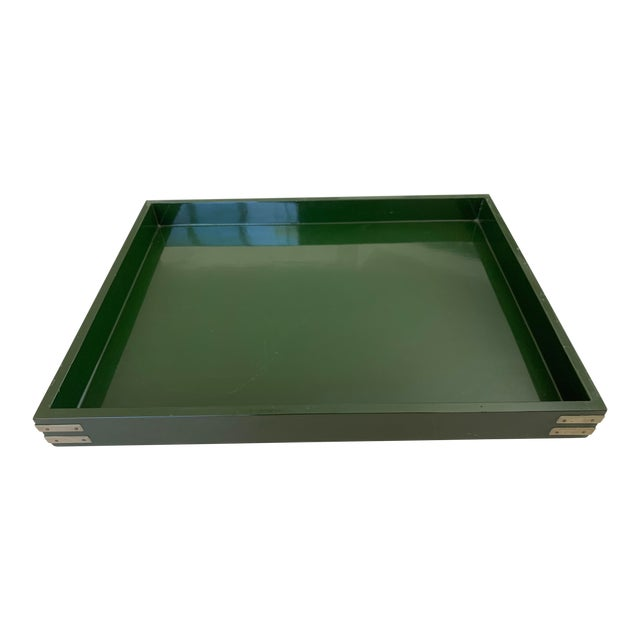 """Roe Kasian, """"British Racing Car Green"""" Lacquer Tray - 1970's For Sale"""