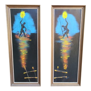 Vintage 1970s Signed Oil Paintings by Fairchild - a Pair For Sale