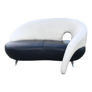 Italian Modern Leather Loveseat by Poltromec For Sale