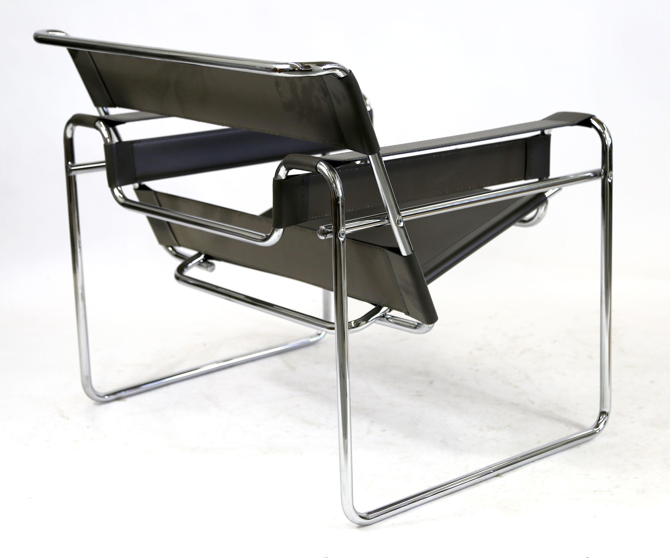 2000s Reproduction Wassily Chair Marcel Breuer Grey Leather And Chrome Tube  Frame For Sale   Image