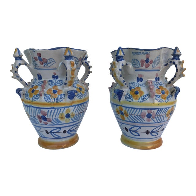 Montalvan Ceramic Vases - a Pair For Sale