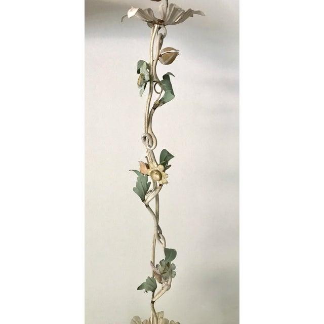 Vintage Tole Pastel Floral 3 Light Chandelier - Image 5 of 5