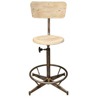Light Wood and Metal Adjustable Swivel High Chair For Sale