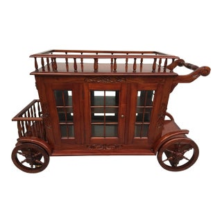 Vintage Mahogany Carriage Trolly Bar Cart For Sale