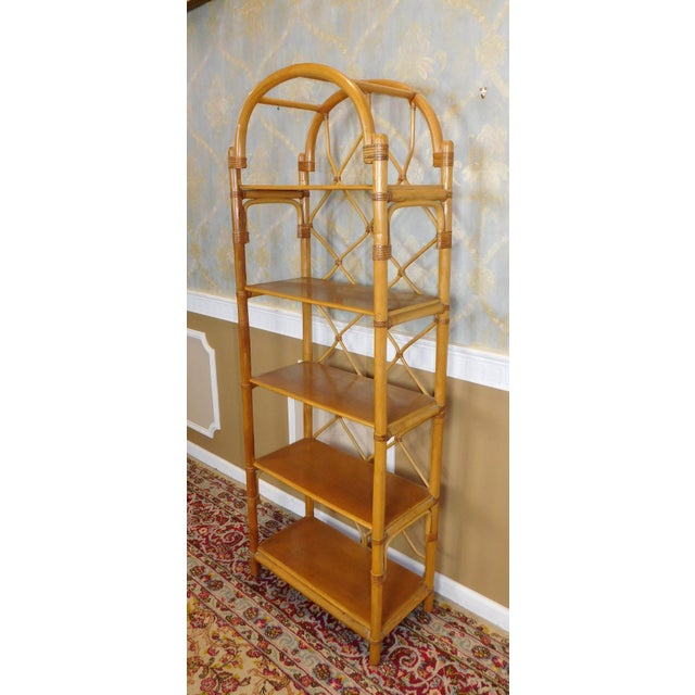 Arched Rattan & Bamboo Etagere - Image 4 of 7