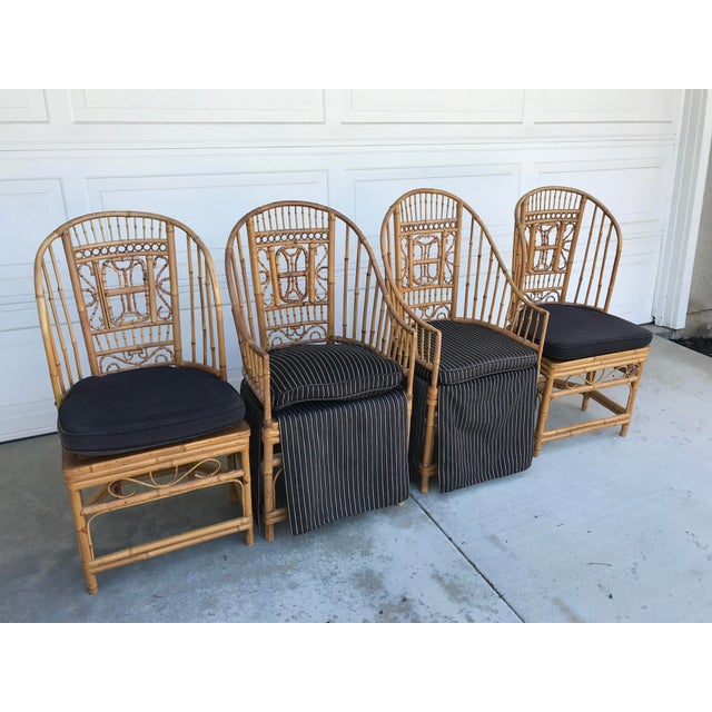 """Very rare set of gorgeous bamboo Brighton Pavillion chairs by """"Thomasville By atlas International Inc (Made in Taiwan -..."""