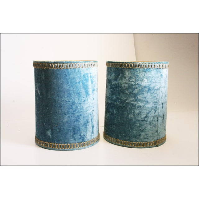 Vintage Hollywood Regency Blue Crushed Velvet Lamp Shades - A Pair - Image 4 of 10