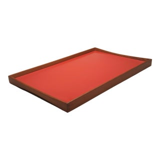 Reversible Danish Finn Juhl Red /Black Teak Turning Tray For Sale