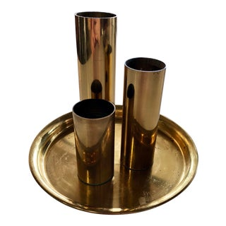 1970s Vintage Brass Votive Holder Set - 4 Pieces For Sale