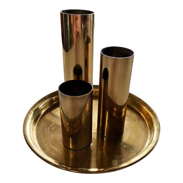 1970s Vintage Brass Votive Holder Set - 4 Pieces For Sale