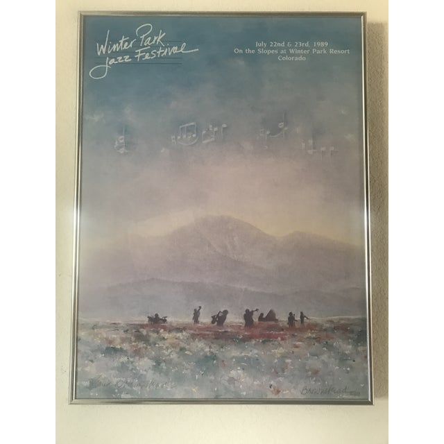 Framed Winter Park Jazz Festival Poster signed, 1989.