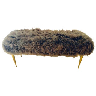 Hollywood Regency Style Furry Brass Metal Stool or Window Bench For Sale