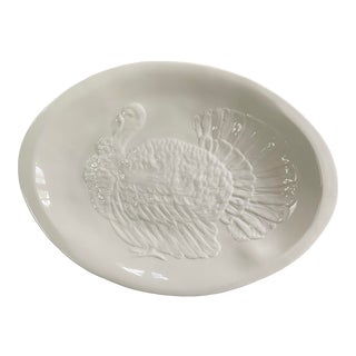 Vintage Italian White Ceramic Turkey Platter For Sale