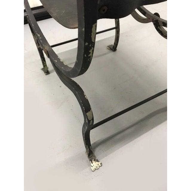 Animal Skin Vintage Savonarola Leather and Iron Stool For Sale - Image 7 of 11