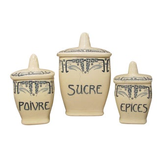 French Art Deco Faience Canisters C.1930, S/3 For Sale