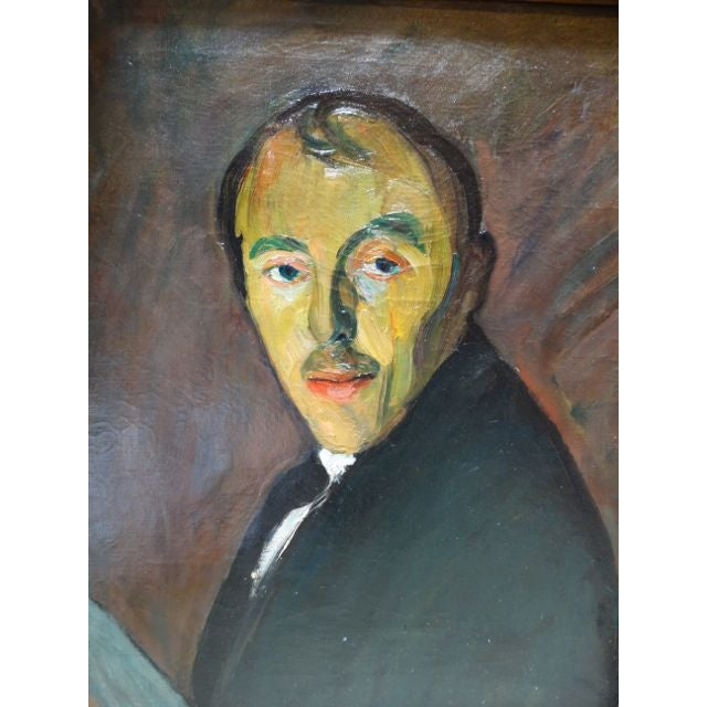 Self-Portrait Oil on Canvas by Ejnar Hansen - Image 4 of 7