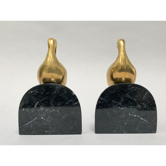 Metal Art Deco Brass and Marble Egret or Crane Bookends – a Pair For Sale - Image 7 of 13
