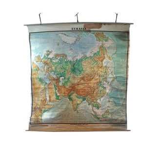 Mid Century Modern Wall Map Eurasia Classroom Wall Map Tibet Russian Map 7 Ft For Sale