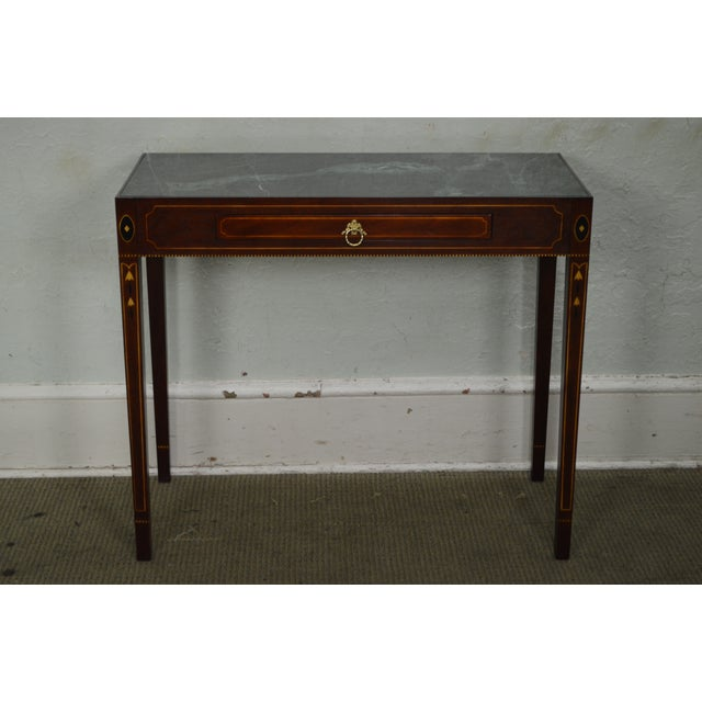 Green Henkel Harris Mahogany Federal Style Marble Top Inlaid Console Mixing Table For Sale - Image 8 of 10