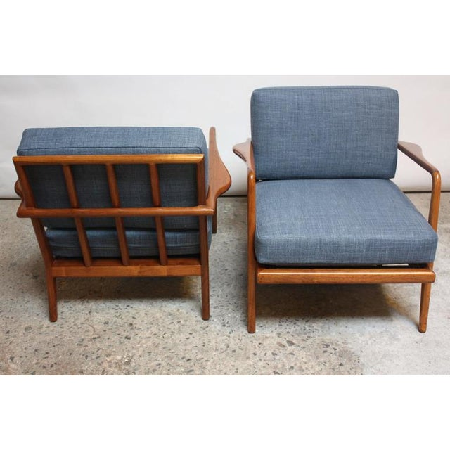 Pair of Mid-Century Walnut Armchairs and Ottoman by Mel Smilow - Image 6 of 11