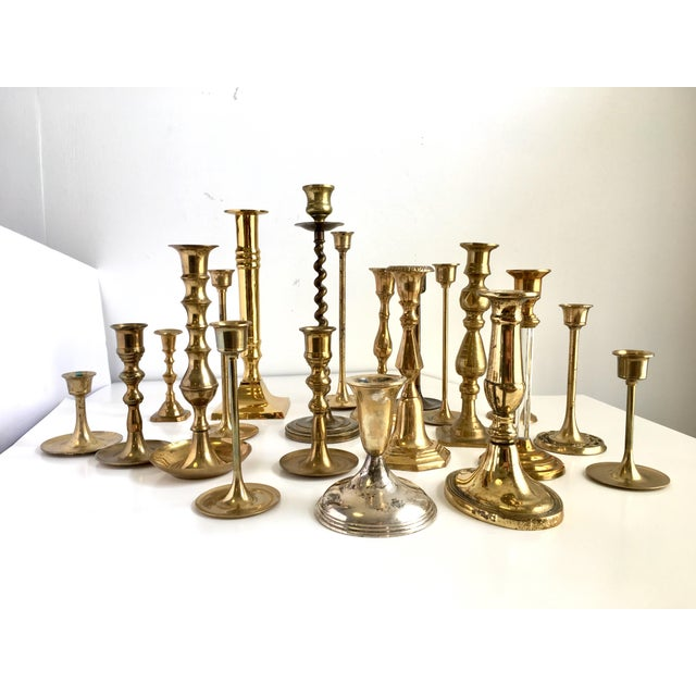 Vintage Brass Candle Holders - Set of 21 For Sale - Image 6 of 8