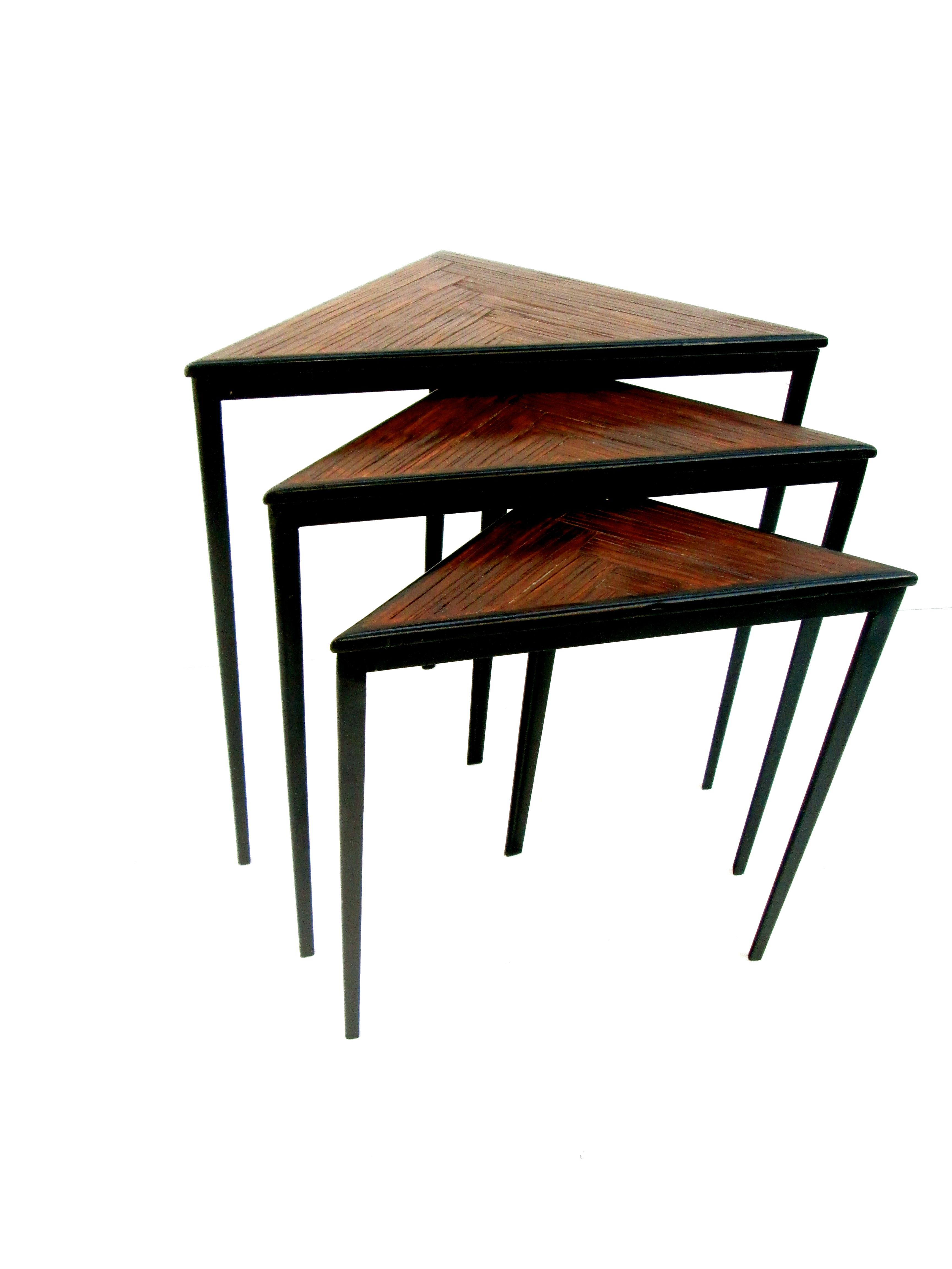 Superb Mid Century Iron U0026 Wood Triangular Nesting Tables   Set ...