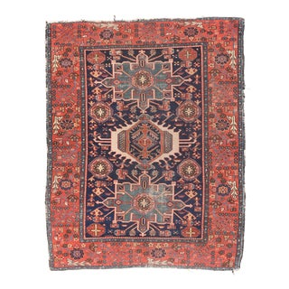 Antique Rust Karajeh Persian Area Rug For Sale