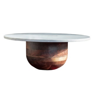 Bertrand Round Marble and Walnut Coffee Table For Sale