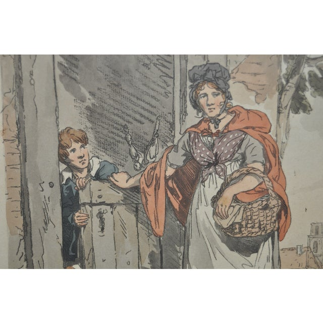 Paper Cottage Girl Hand Colored Engraving C.1807 For Sale - Image 7 of 11