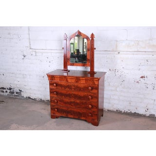 19th Century American Empire Flame Mahogany Dresser With Mirror Preview